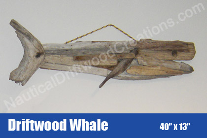 Hanging Driftwood Whale Sculpture (40 x 13)