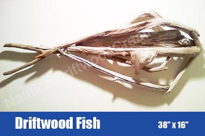 Driftwood Fish hanging wall sculpture 38 x 16