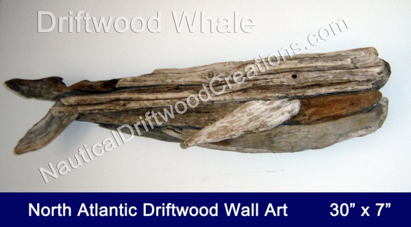 Driftwood Art Whale Hanging Wall Sculpture