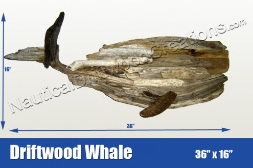 Driftwood Whale Hanging Wall Art 36x16
