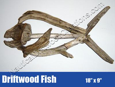Driftwood Fish Hanging Sculpture Art 18x9.